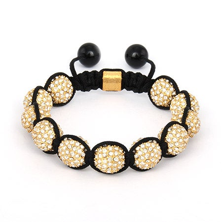 Sparkling 12mm Golden CZ Pave Shamballa Style Bracelet | Eve's Addiction®
