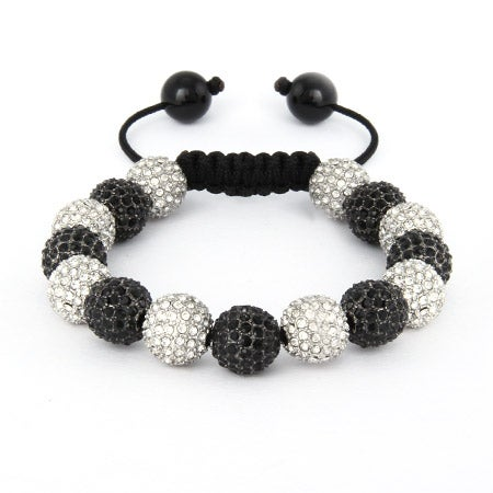 White and Black CZ Bead Shamballa Style Bracelet | Eve's Addiction®