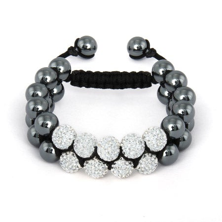 White Crystal Pave Spiritual Bead Bracelet | Eve's Addiction®