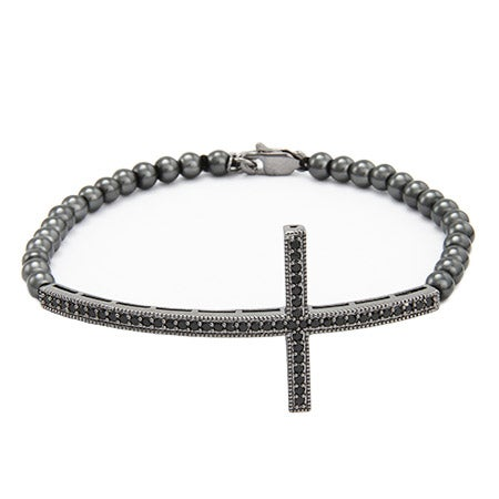 Sterling Silver Oxidized CZ Sideways Cross Bracelet | Eve's Addiction®