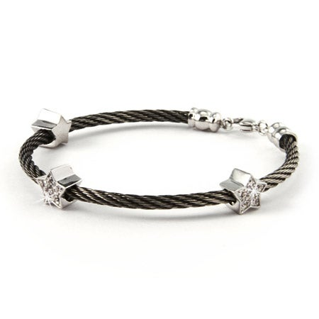 Stackable Cable Rope Bracelet with CZ Stars | Eve's Addiction