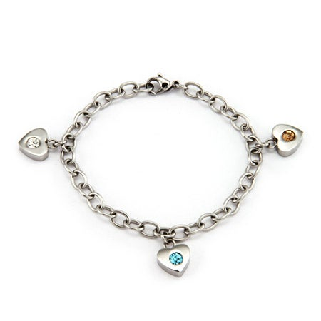3 Birthstone Family of Hearts Custom Bracelet