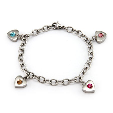 4 Stone Family of Hearts Custom Birthstone Bracelet | Eve's Addiction®