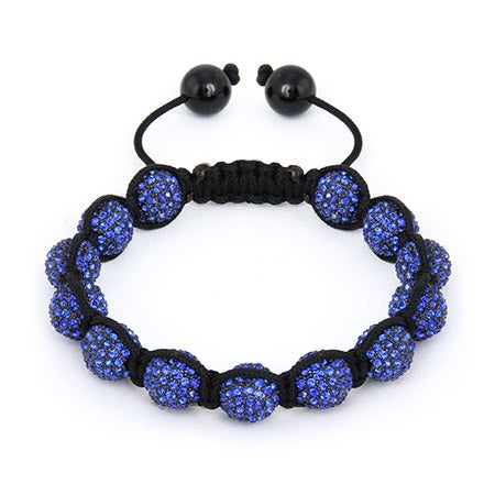 10mm Sapphire Crystal Bead Shamballa Style Bracelet | Eve's Addiction®