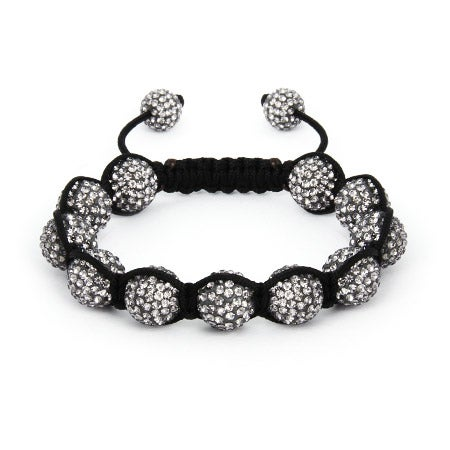 Sparkling 12mm Grey Austrian Crystal Pave Shamballa Style Bracelet | Eve's Addiction®