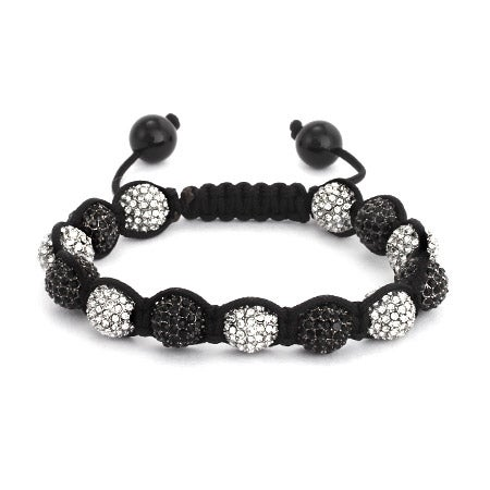 Shamballa Inspired 10mm White and Black CZ Pave Bead Bracelet | Eve's Addiction®