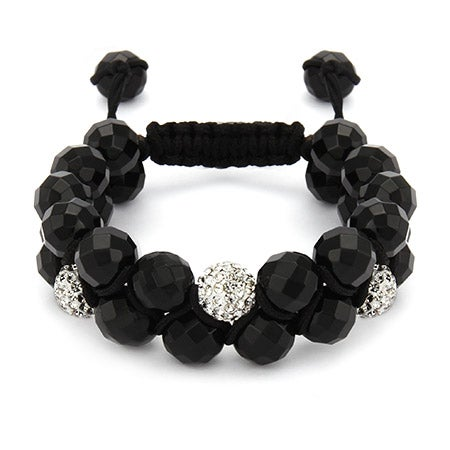 Designer Inspired White Crystal & Onyx Bead Spiritual Bracelet | Eve's Addiction®
