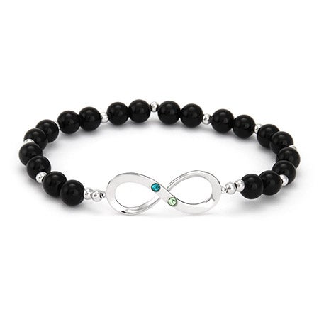 Two Birthstone Infinity Onyx Beaded Bracelet | Eve's Addiction®