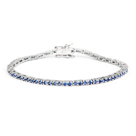 Thin Sterling Silver Round Cut Sapphire CZ Tennis Bracelet | Eve's Addiction®