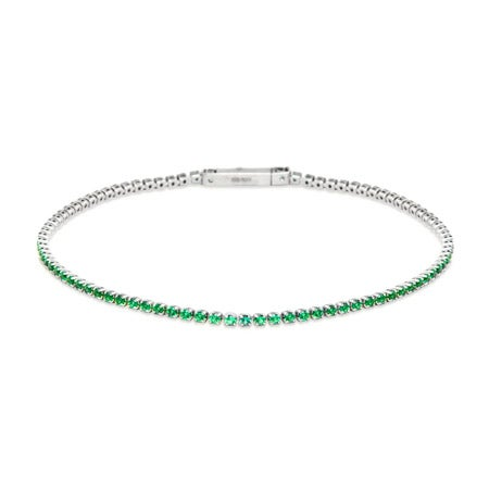 Extra Thin Brilliant Cut Emerald Green CZ Tennis Bracelet | Eve's Addiction®
