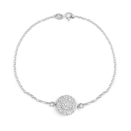 Royalty Inspired Silver Round Pave CZ Bracelet | Eve's Addiction®