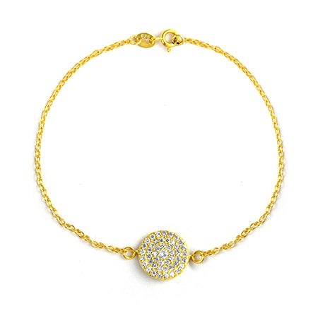 Royalty Inspired Gold Round Pave CZ Bracelet