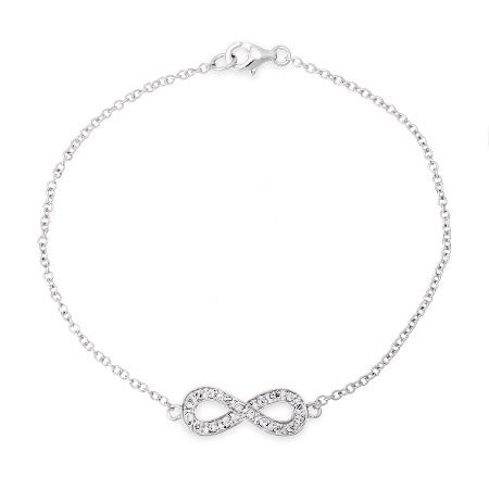 Sterling Silver Infinity Cubic Zirconia Bracelet | Eve's Addiction®