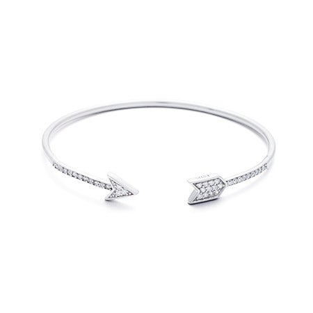 Sterling Silver Pave CZ Arrow Cuff Bracelet | Eve's Addiction®