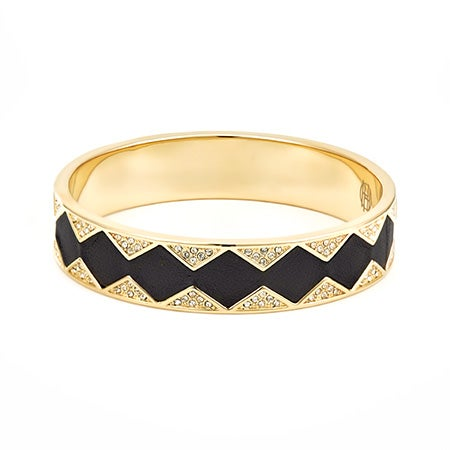 Black Leather Inlay Sunburst Gold Bangle by House of Harlow 1960