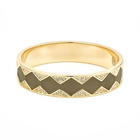 House of Harlow 1960 Leather Pave Sunburst Bangle Bracelet in Khaki and Gold