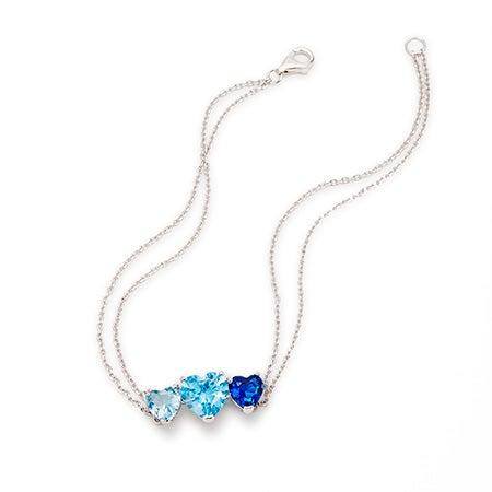 Custom 3 Stone Heart Birthstone Silver Bracelet