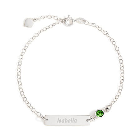Sterling Silver Custom Birthstone Name Bar Bracelet
