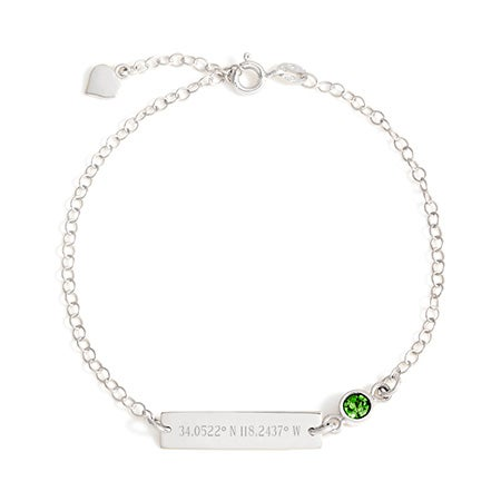 Sterling Silver Custom Coordinates Birthstone Bracelet