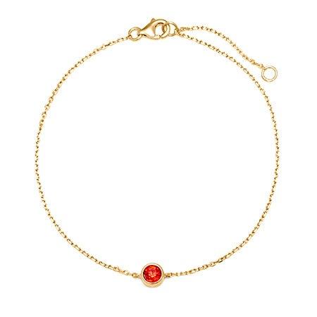 One CZ Custom Birthstone Bracelet | Round Birthstone Bracelet