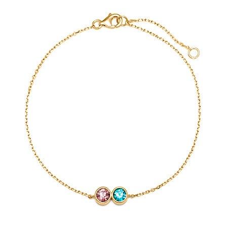 2 Stone CZ Custom Birthstone Bracelet | Eve's Addiction