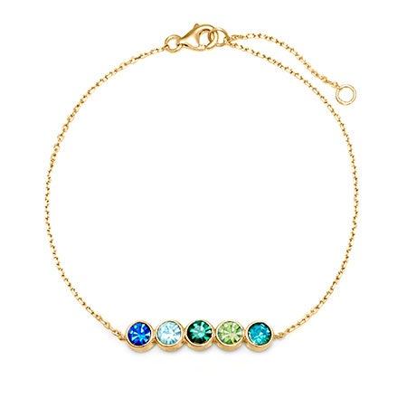 5 Stone Custom Birthstone Bracelet | Custom 5 CZ Bangle