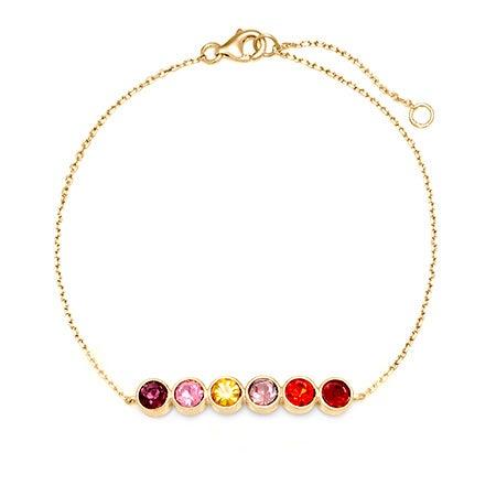 6 Stone Custom Birthstone Bracelet | Custom 6 CZ Bangle