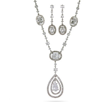 Peardrop CZ Necklace and Earrings Set
