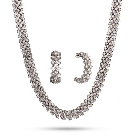 Brilliant Cut CZ Cocktail Necklace and Earrings Set | Eve's Addiction®