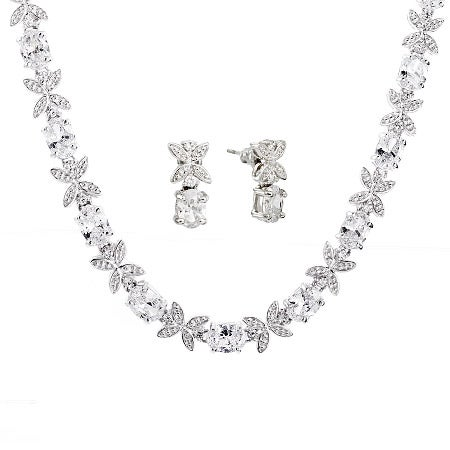 Diamond CZ Flower Necklace and Earring Set