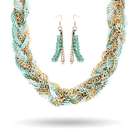 Mint Green Braided Rope, Lace and Chain Collar Set | Eve's Addiction®
