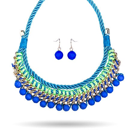 Turquoise Rope Linked Collar Necklace Set | Eve's Addiction®