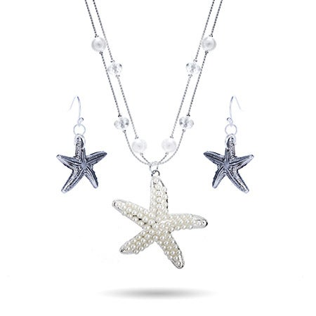 Pearl Starfish Necklace Set with Beaded Chain