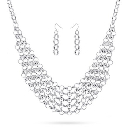 Round Link Chain Bib Necklace Set