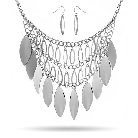 Silver Leaf Bib Necklace with Earrings