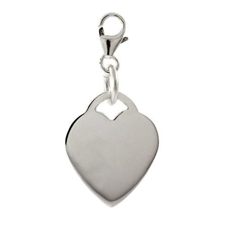 Sterling Silver Engravable Heart Tag Charm | Eve's Addiction®
