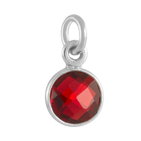 January Birthstone Red CZ Bezel Drop Charm