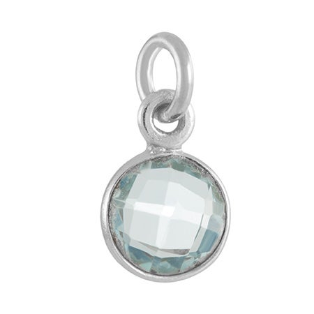 March CZ Bezel Drop Silver Charms