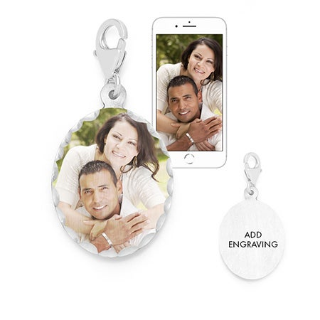 Personalized Oval Photo Wedding Bouquet Charm