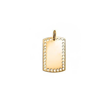 Petite Perforated Dog Tag Gold Charm