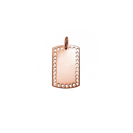 Petite Perforated Rose Gold Dog Tag Charm