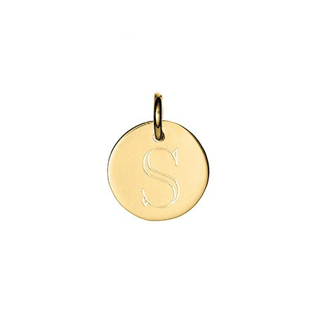 Petite Gold Round Tag Initial Charm