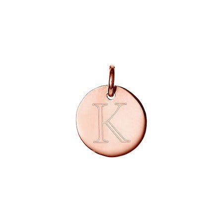 Petite Rose Gold Round Charm Initial Charm