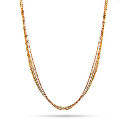 Multi-Strand Liquid Italian Silver Three Tone Chain