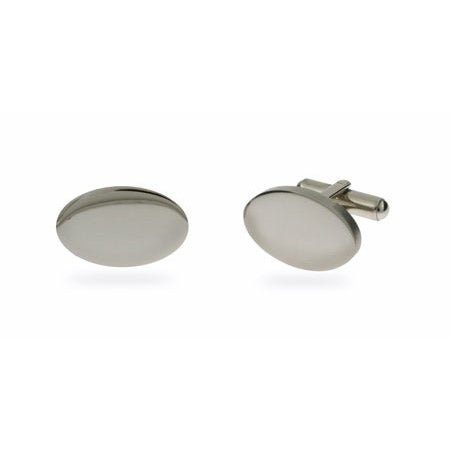 Mens Engravable Oval Style Stainless Steel Cufflinks | Eve's Addiction®