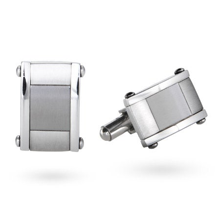Men's Stainless Steel Engravable Brushed Plaque Cufflinks | Eve's Addiction®