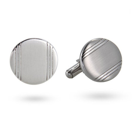 Men's Stainless Steel Engravable Silver Lined Cufflinks