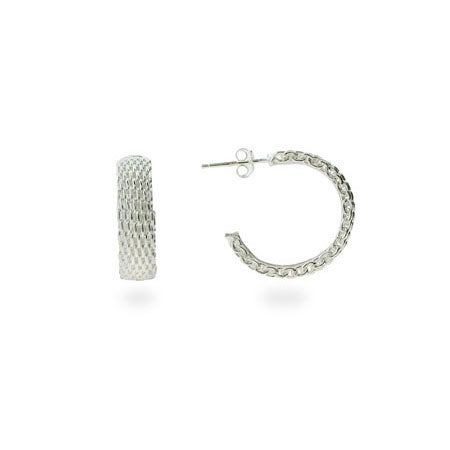 Designer Style Sterling Silver Mesh Hoop Earrings | Eve's Addiction®