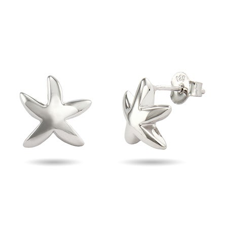 Designer Style Silver Starfish Earrings