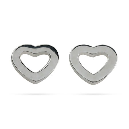 Designer Style Sterling Silver Heart Link Stud Earrings | Eve's Addiction®